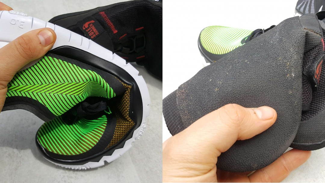 Der Nike Free ist bei weitem nicht so flexibel wie ein Barfußschuh (Links Nike Free 3.0; Rechts Sole Runner Barfußschuh)